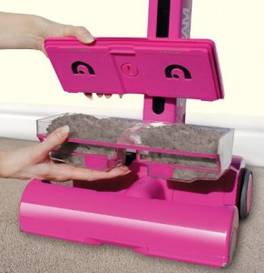 gtech airram pink showing dust cannister